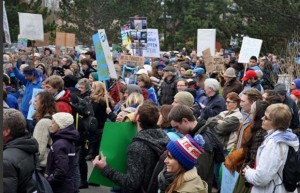 Protesters in Bella Bella this week, making their voices heard